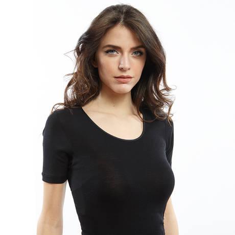 OSCALITO Top manches courtes en laine mérinos et soie Noir