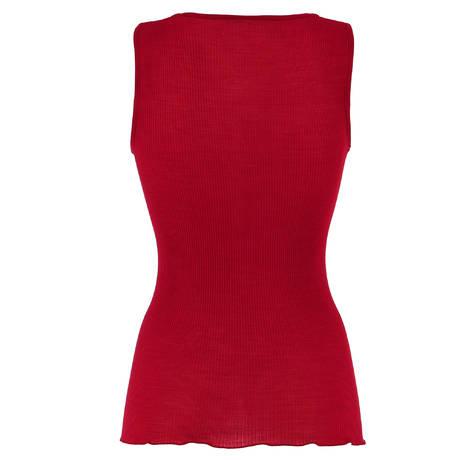 Top côtelé en laine et soie Rouge