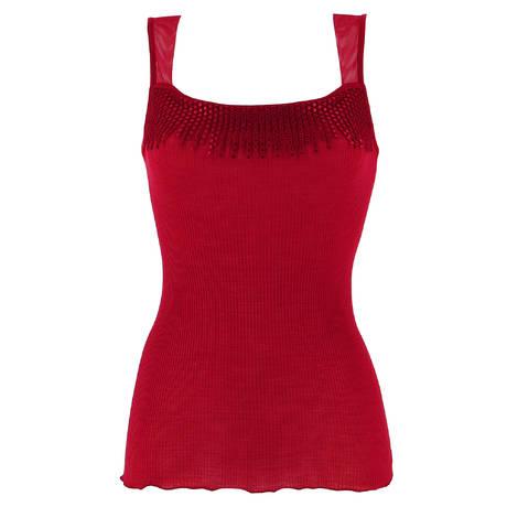 OSCALITO Top côtelé en laine et soie Rouge