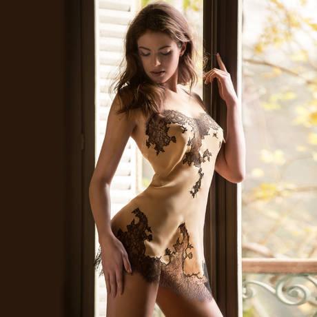Nuisette Dénudée Mousseline Nude/Noir