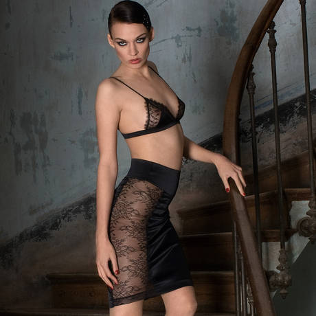MAISON CLOSE Jupe Villa Satine Noir