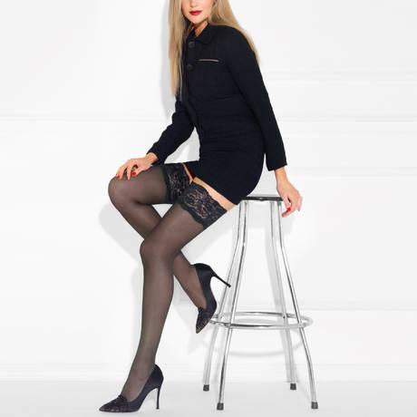 LE BOURGET Bas autofixant 20 deniers Perfect Chic Couture Noir