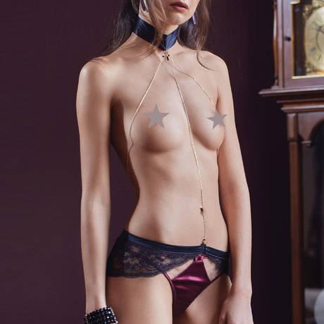 LES JUPONS DE TESS Harnais lingerie Tentation Noir/Or