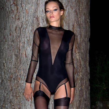 Body string porte-jarretelles Liaison Fatale Noir