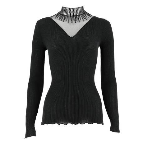 OSCALITO Top en laine et soie Noir