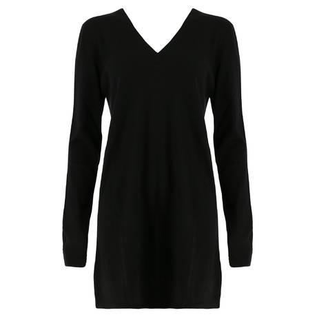 MARJOLAINE Pull long en laine et soie Divinité Noir