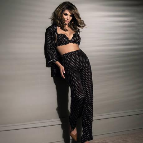 ANTINÉA Pyjama Pois Glamour Noir Camel