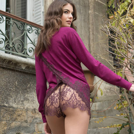 MARJOLAINE Short en dentelle Caprice Aubergine