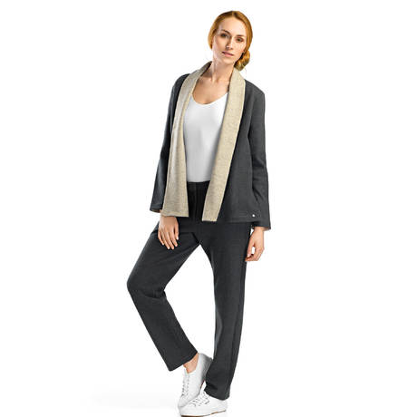 HANRO Gilet réversible Nell Anthracite/Beige
