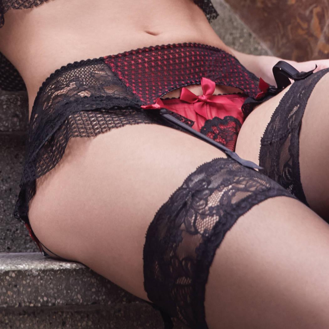 LES JUPONS DE TESS Porte-jarretelles Flirt Noir/Lipstick