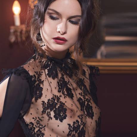 LES JUPONS DE TESS Top manches longues Blush Noir/Rose Poudre
