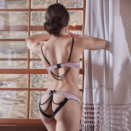LES JUPONS DE TESS Slip ouvert LJT Adriana Satin Vieux Rose