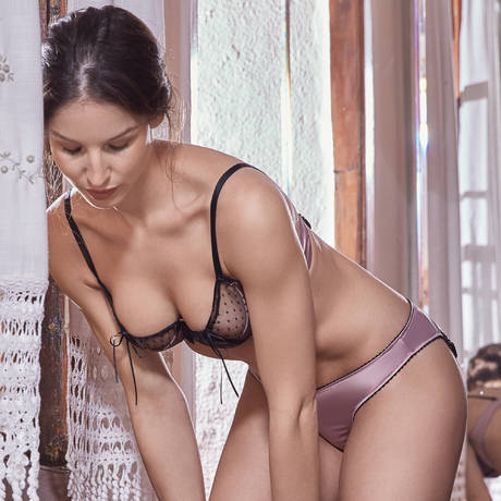 LES JUPONS DE TESS Soutien-gorge balconnet LJT Adriana Satin Vieux Rose