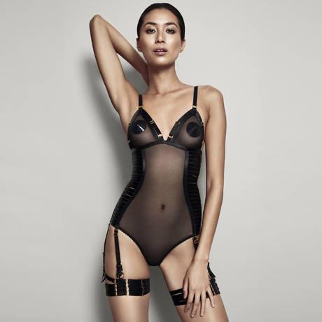 BORDELLE Body porte-jarretelles Bondage-Belle Signature Noir