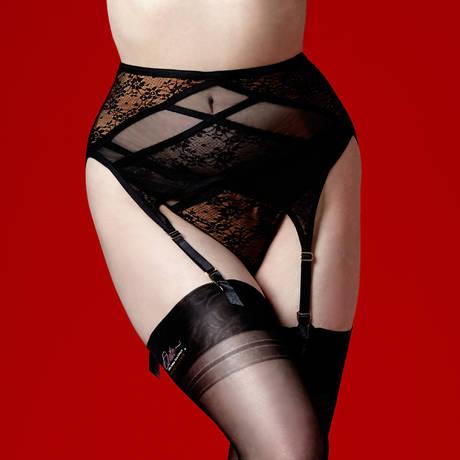 DITA VON TEESE Porte-jarretelles Exotique Noir/Beige
