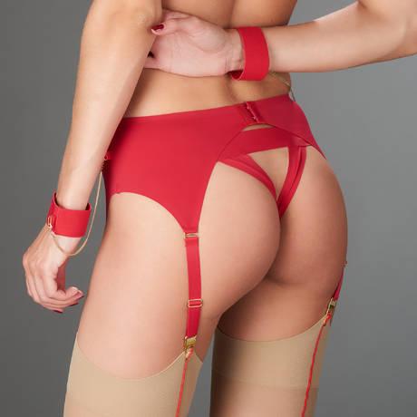 MAISON CLOSE Porte-jarretelles avec menottes Tapage Nocturne Rouge
