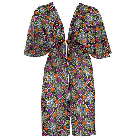 ANTIGEL Robe de plage La Mandala des Iles Mandala Noir