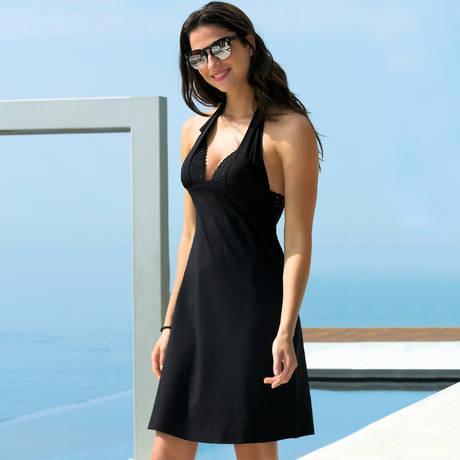 LISE CHARMEL Robe de plage longue Ajourage Couture Noir