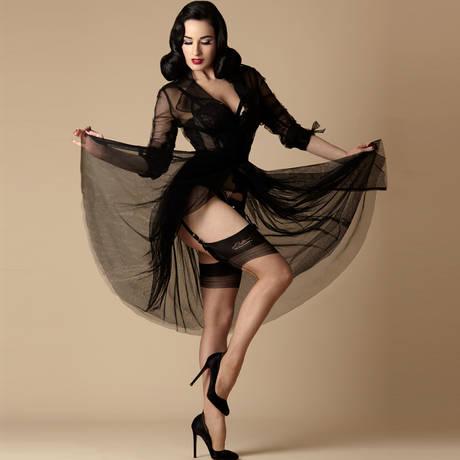 DITA VON TEESE Bas nylon French Heel Full Fashioned Beige