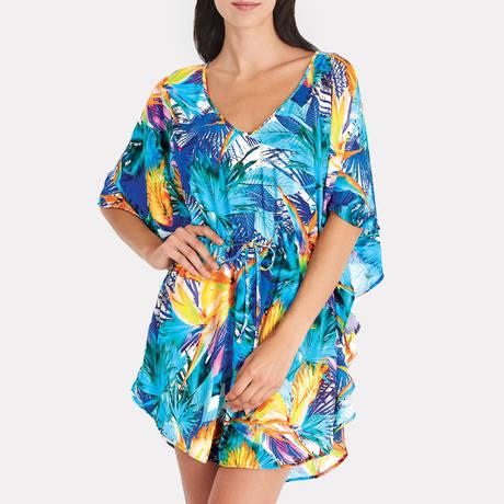 AUBADE Tunique Fleur Tropicale Bleu Eden