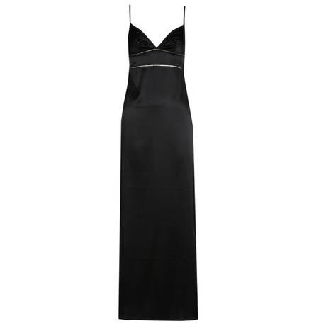 MARIE JO Nuisette longue en soie Precious Noir
