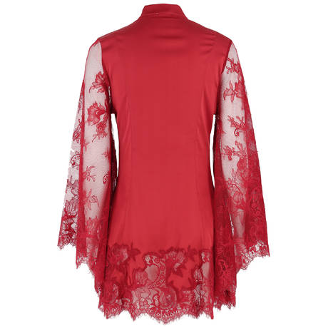 MARJOLAINE Nuisette kimono en soie Daphnee Rouge