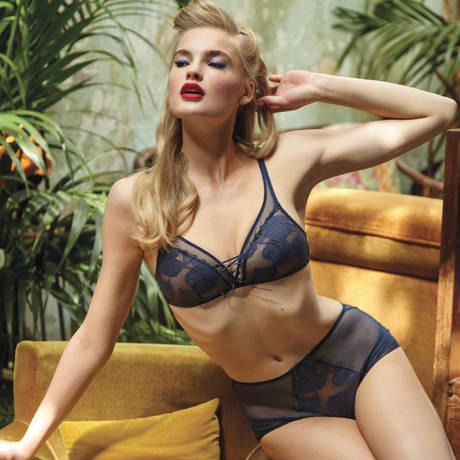 BARBARA Culotte haute Effeuillage Bleu Jean