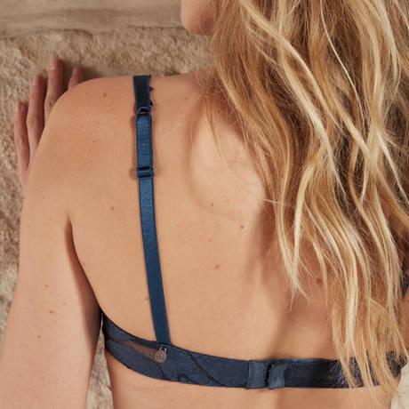BARBARA Soutien-gorge armatures Effeuillage Bleu Jean