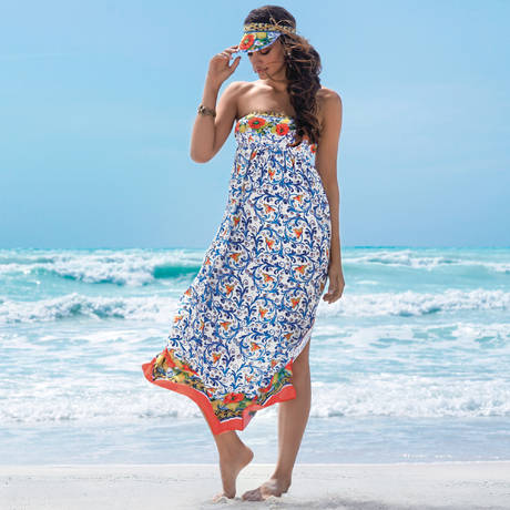 ANTIGEL Robe de plage longue La Folie Azulejos Citron Fleuri