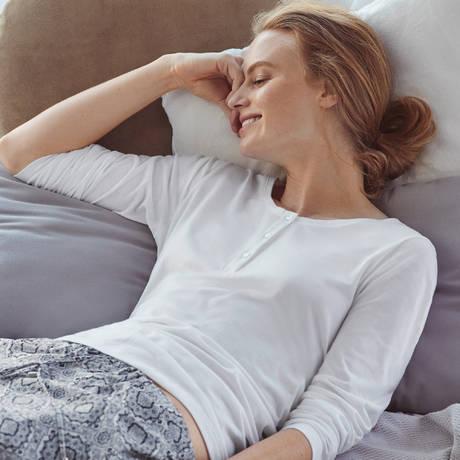 HANRO Top manches longues Sleep & Lounge Blanc