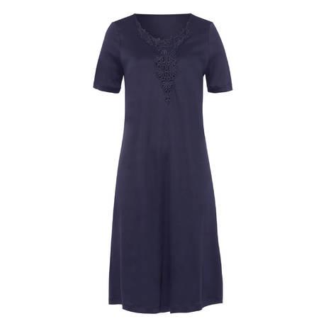 HANRO Chemise de nuit manches courtes Jasmin Crown Blue