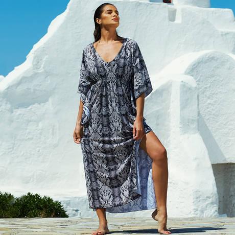 SORAYA Robe de plage Bengale Noir/Blanc