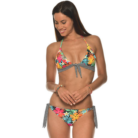 BANANA MOON Maillot de bain slip lacets réversible Bayside Multicolore