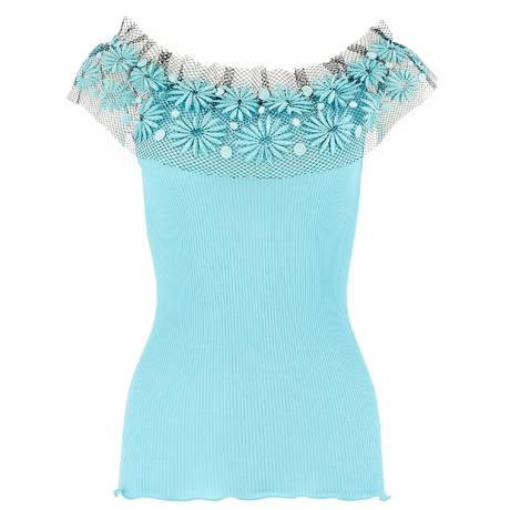 OSCALITO Top manches courtes coton fil d'écosse Turquoise
