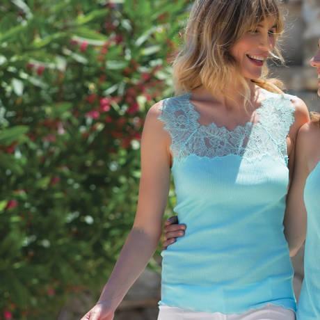 OSCALITO Débardeur en coton fil d'écosse Turquoise