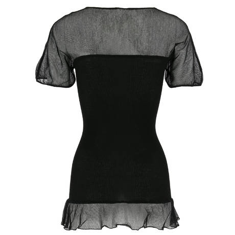 OSCALITO Top manches courtes en coton fil d'écosse Noir