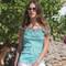 OSCALITO Top manches courtes en coton fil d'écosse Turquoise