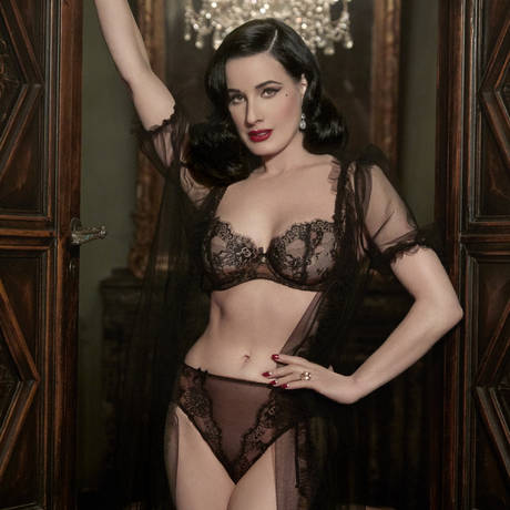 DITA VON TEESE Culotte haute Savoir Faire Sheer Black/Copper