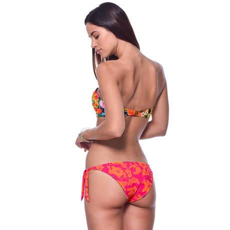 BANANA MOON Maillot de bain slip lacets réversible Tropisun Orange