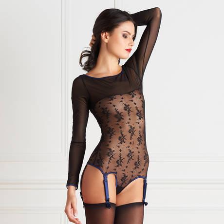 MAISON CLOSE Body string porte-jarretelles Vertige d'Amour Noir/Bleu Nuit