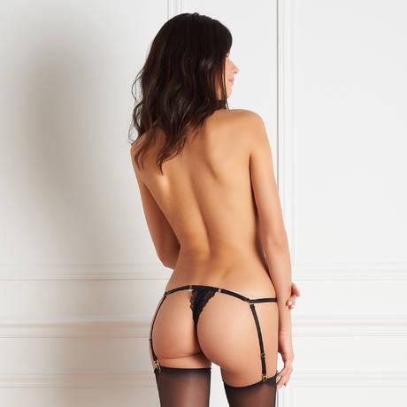 MAISON CLOSE Body string ouvrable porte-jarretelles amovibles Le Petit Secret Dentelle Noir