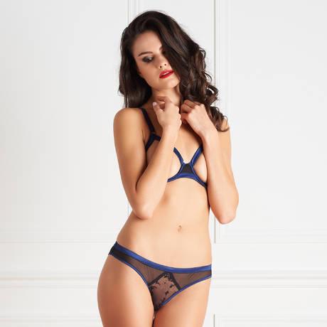 MAISON CLOSE Soutien-gorge seins nus Vertige d'Amour Noir/Bleu Nuit