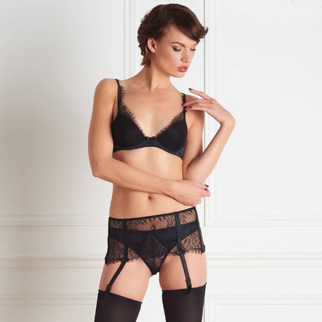 MAISON CLOSE Soutien-gorge push-up dentelle Villa Satine Noir