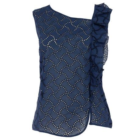 OSCALITO Top sans manches en coton fil d'écosse Bleu