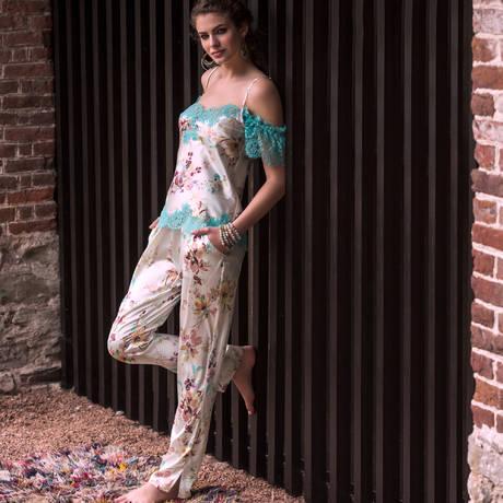 MARJOLAINE Caraco en soie Elfique Imprimé Fleurs