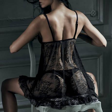 AUBADE Tanga Femme Romantique Noir Vénus