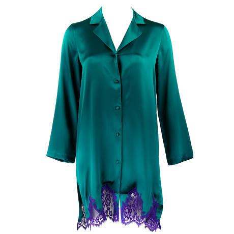 LISE CHARMEL Chemise de nuit en soie Splendeur Soie Splendeur Turquoise