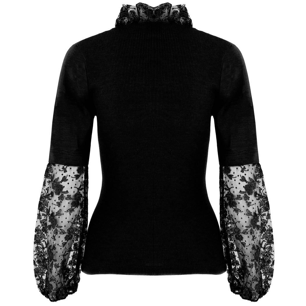 OSCALITO Pull manches longues en laine et soie Noir