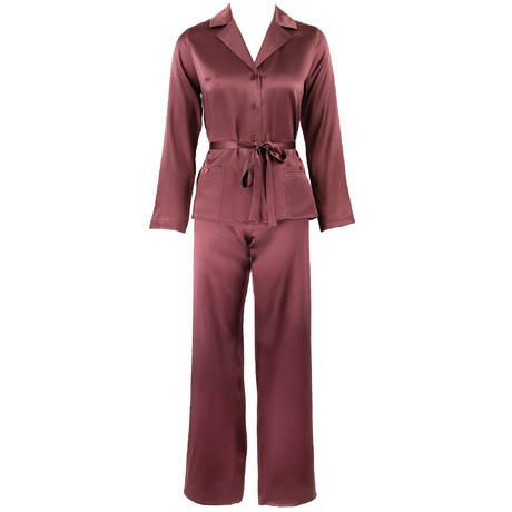 MARJOLAINE Pyjama en soie Soie Unie Cuir