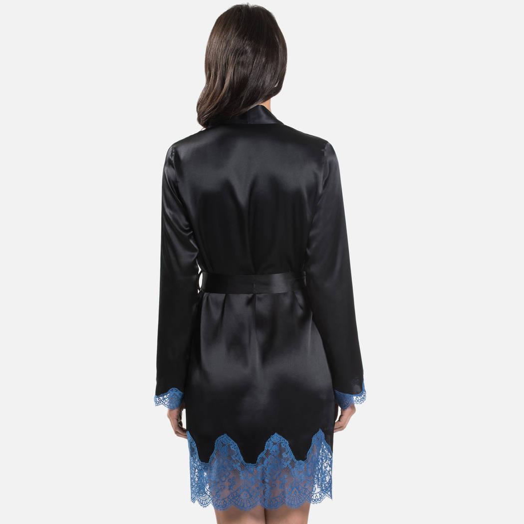 AUBADE Kimono en soie Soie d'Amour Bleu Velvet